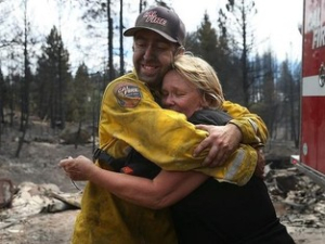 3 Boles Fire, the hug, Courtesy Cal Fire